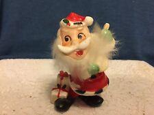 Vintage Christmas Santa Claus Violin Fiddle Fur Beard Figurine Japan Mid Century