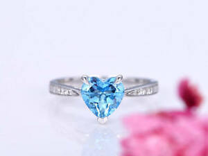 1.1Ct Heart Cut Aquamarine Simulnt Diamond Engagement Ring White Gold Fns Silver