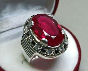 Oval Cut Dark Deep Red Ruby Sterling Silver 925 Handmade Yaqoot Women Big Ring