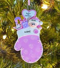 Baby Girl First Pink Mitten - Baby's 1st Personalized Christmas Baby Ornament