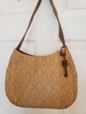 Fossil Shoulder Handbag Woven/Leather Tan/Brown Wooden Key