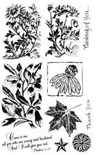 8 1/2 x 5 rubber Stamp Sheet 10 stamps - leaf, flowers, poppies, bible verse #1