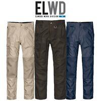 Mens Elwood Slim Pants Stretch Canvas Work Utility Safety Tradie Phone EWD105