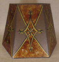 """New Mica Lamp Shade, Decorated Antique Amber Hexagon Style, 10""""x16""""x11"""" #MS705D"""
