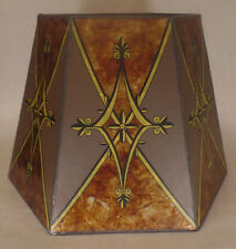 """10""""x16""""x11"""" Decorated Antique Amber Hexagon Style Mica Floor, Table Lamp Shade"""