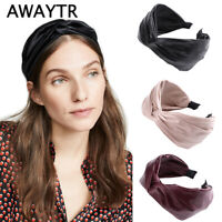 Leather PU Hairbands for Women Hair Accessories Wide Knotted Headband Hair Hoop
