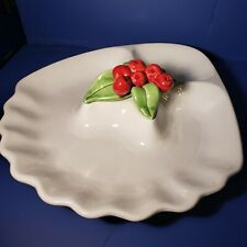 Vintage Cali USA 644 Pottery White Serving Tray with Red berries and Green leave