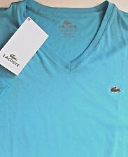 LACOSTE MENS COTTON V-NECK BLUE TEE size 2XL/Designed in France/made in PERU/NWT
