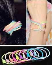 LOTS 10PCS Luminou Silicone Gummy Hair band Loom Rubber Bracelet Wristband