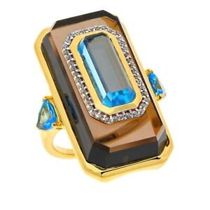 Rarities Gold-Plated Smoky Quartz and Multi-Gemstone Ring, Size 7