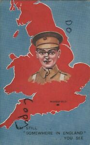 WW1 military Art Patriotic Map card Maresfield Sussex