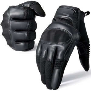 Touch Screen Leather Driving Motorcycle Tactical Military Full Finger Gloves US