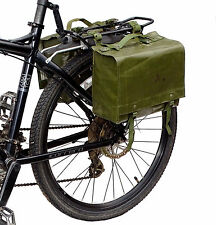 Ex-Army Waterproof Pannier Bags 1980s rubberized pair retro green bike vintage