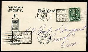 *p281- HAMILTON 1931 Parke-Davis PERFIN Medicine ADVERTISING Postcard Galt Drugs