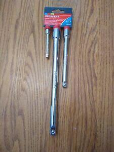 """Crescent 3 Piece Socket Bar Extension Set 1/4"""" 3/8"""" 1/2"""" Drive CDTA15MD"""