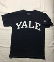 Vintage Champion YALE Men's Navy Blue T Shirt Sz Small NCAA