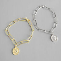 New Womens Genuine s925 Sterling Silver Lady Pattern Coin Round Bracelet Chain