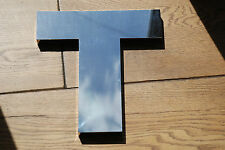 Large reclaimed 3D metal shop letter T - polished mirror finish - 30cm tall