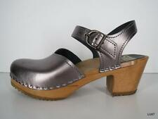 SVEN SWEDISH CLOGS 39 9 Metallic Silver Mary Jane Clogs Sandals Pin Up PUG VLV
