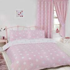 Pink And White Stars Double Duvet Cover Set Kids Bedding