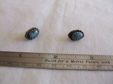 """JEWELLERY VINTAGE  EARRINGS  WITH  TURQUOISE STONES LEAF DESIGN  MARKED """"STERLIN"""