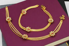 Payal Anklets Ethnic Bridal Jewelry Set Indian Bollywood Flower Ruby Foot Chain