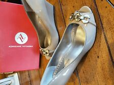 Adrienne Vittadini peep toe wedge Patent Beige Shoes With Buckle 8M