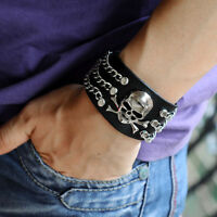 Punk Gothic Mens Skull Link Chain Black Cowhide Leather Bracelet Cuff Wristband
