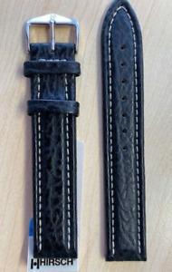 Hirsch Chrono Genuine Shark Leather Watch Strap Waterproof 100m BLACK 18mm Long