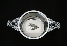 Fishing Fly Quaich Scottish Drinking Bowl Pewter Stainless Steel Christening 130