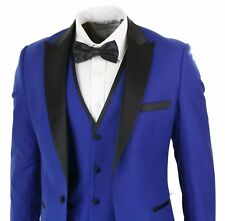 Men Suit 3 Piece Royal Blue Satin Tuxedo Dinner  Tailored Fit Wedding Prom Groom