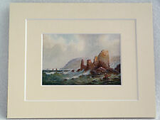 SALCOMBE CASTLE S DEVON VERY RARE VINTAGE DOUBLE MOUNTED PRINT 1907 HANNAFORD