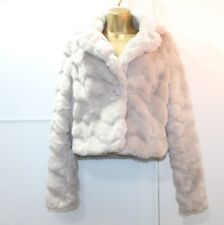 Lipsy Fluffy Faux Fur Jacket Coat Size 10 Grey Glam Party Chic Evening Xmas