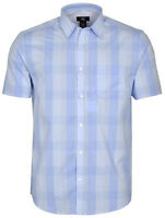 CALVIN KLEIN Mens Checkered Short Sleeve Tidal Wave Shirt Medium Blue