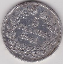 FRANCE 1841A SILVER 5 FRANCS IN VERY FINE OR BETTER CONDITION