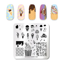 NICOLE DIARY Square Nail Stamping Plate Ice Cream Theme Nail Art Image Stencils