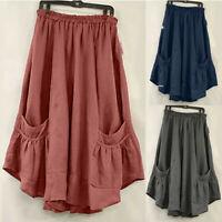 Vintage Women High Waist Skater Flared Pleated Swing Pocket Long Skirt Dresses