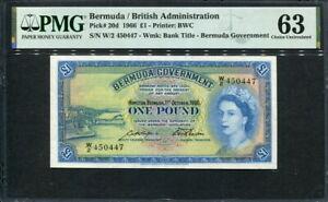 Bermuda 1966, 1 Pound, P20d, PMG 63 UNC