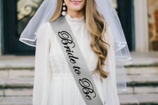 BRIDE TO BE, Hen Party Classy White  VEIL & comb & Silver Grey SASH  Wedding