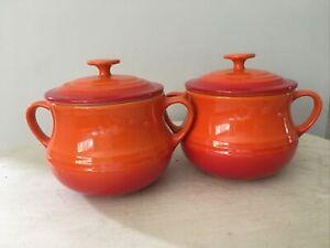Le Creuset 2x Mini Casserole Cocotte Pots Bean Soup Dishes Lids volcanic orange