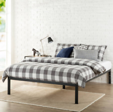 """King Size Metal Platform Bed Frame 14"""" Tall Mattress Box Plastic Feet Wood Slat"""