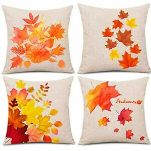 """4 Pcs Thanksgiving Day Fall Decor Pillow Case Maple Leaves Pillow Cover 18""""x 18"""""""
