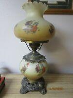 "Large Vintage Hurricane Lamp Cream & Brown Glass w Brass Base 21"" Tall"