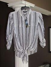 JONES NEW YORK Black White Stripe Front Tie Button Down Shirt Size 0X NWT $84