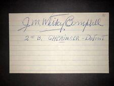 "1933 SENATORS: J.M. ""Whitey"" Campbell, SIGNED 3x5 (JSC), D.1995"