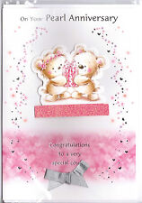 On Your Pearl Anniversary Card. Two 3D Teddies With A Gift.