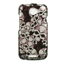 For T-Mobile HTC ONE S HARD Protector Case Snap On Phone Cover Black Skulls