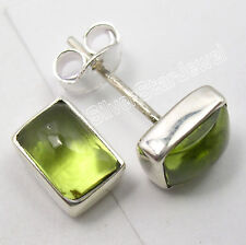 925 Pure Silver Authentic PERIDOT Studs BOYS' JEWELRY Earrings Pair 0.8 CM NEW