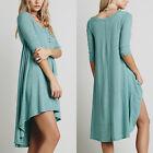 Women V Neck Loose Top Shirt 3/4 Sleeve Button Blouse Tunic Boho Dress Plus Size