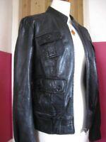 Ladies M&S AUTOGRAPH black real leather JACKET L/XL UK 16 18 biker racer bomber